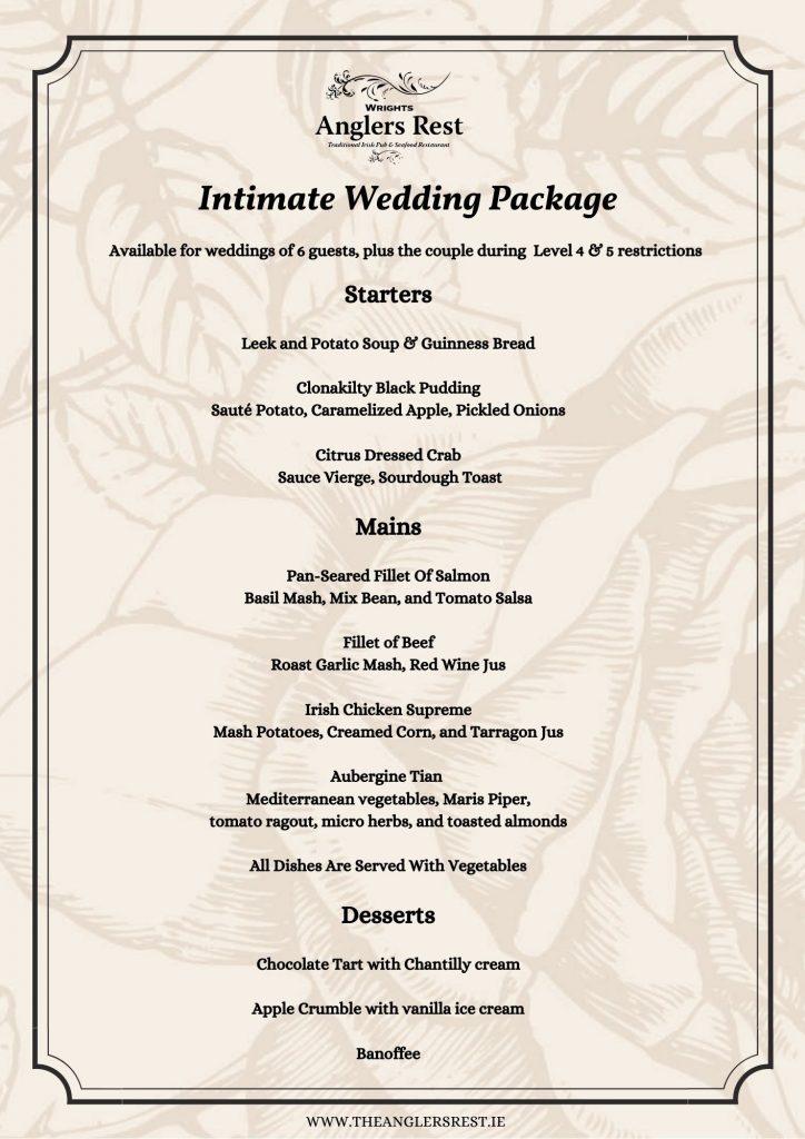 Intimate wedding menu